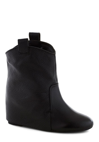Cloak and Swagger Boot - Black, Solid, Wedge, Leather, Mid, Better, Girls Night Out