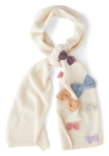 Flair to Flaunt Scarf - Cream, Multi, Solid, Bows, International Designer, Fall, Winter, Knit