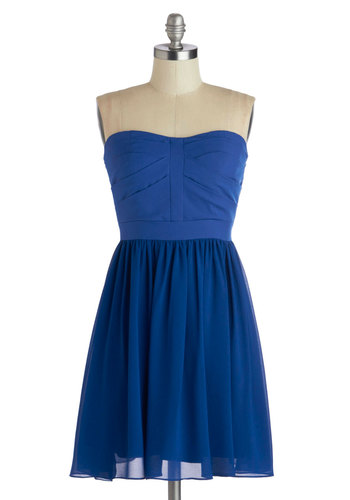 Dance Floor Dazzle Dress - Short, Chiffon, Woven, Blue, Solid, Party, A-line, Strapless, Better, Sweetheart