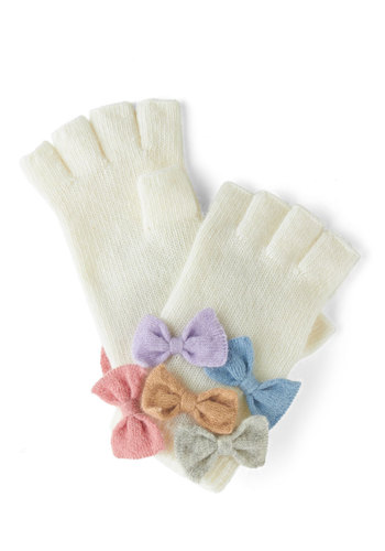 Flair to Flaunt Gloves by Alice Hannah London - Cream, Multi, Solid, Bows, Fall, Winter, International Designer, Knit