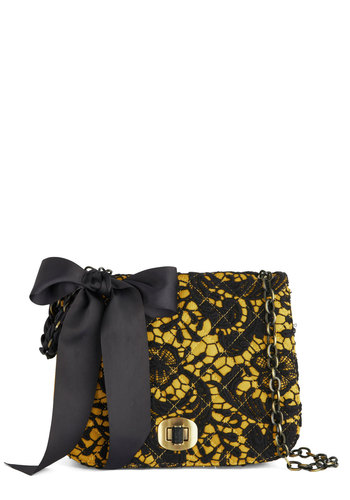 Fandom of the Opera Bag by Darling - Yellow, Black, Chain, Lace, Quilted, Statement, International Designer, Bows, Faux Leather