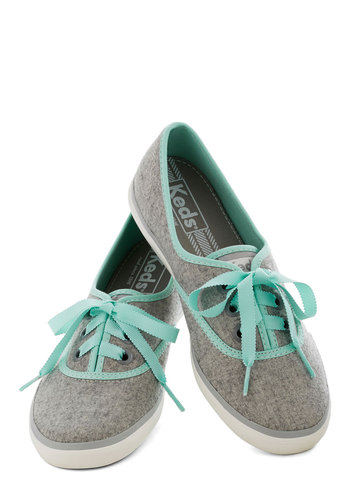 City Trails Sneaker by Keds - Grey, Mint, Solid, Trim, White, Casual, Better, 90s
