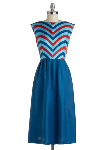 Lauren Moffatt Over and Overlook Dress by Lauren Moffatt - Long, Woven, Blue, Red, Stripes, Pockets, Party, Twofer, Cap Sleeves, Best, A-line, Boat, Nautical, Americana, Daytime Party
