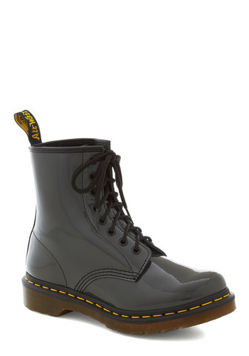 Tread Brightly Boot in Fog by Dr. Martens - Grey, Solid, Trim, Leather, Low, Vintage Inspired, 90s, Better, Casual, Lace Up, Variation
