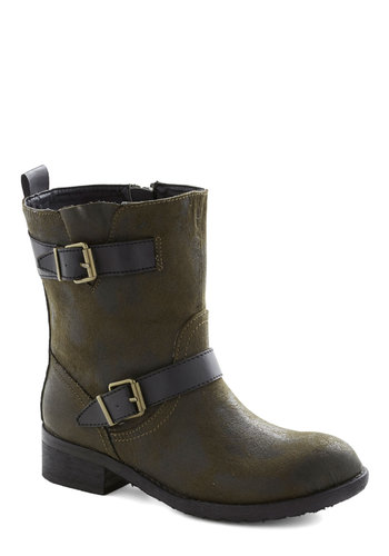 A-Frame of Mind Boot - Green, Black, Buckles, Urban, Low, Faux Leather, Better, Solid, Casual, Military, Fall