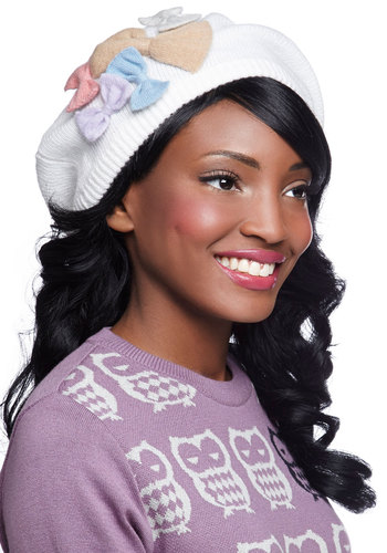 Flair to Flaunt Hat by Alice Hannah London - Cream, Multi, Solid, Bows, Fall, Winter, International Designer, Knit