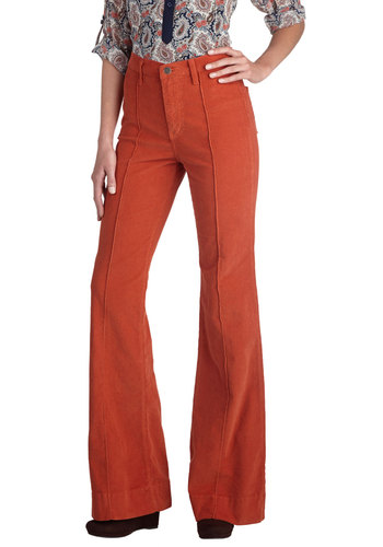 Rocking Major Cords Pants in Tangerine - Cotton, Woven, Orange, Solid, Pockets, Casual, Vintage Inspired, 70s, Flare / Bell Bottom, Exclusives, High Waist, Fall, Variation