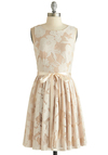 Pearl Peonies Dress - Mid-length, Woven, Cream, White, Floral, Belted, Daytime Party, Graduation, A-line, Sleeveless, Exclusives, Boat, Good, Wedding, Bridesmaid
