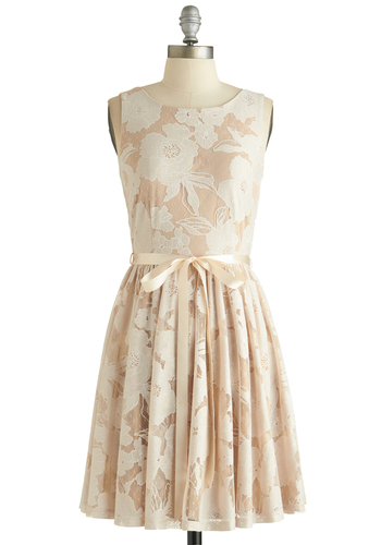 Pearl Peonies Dress - Mid-length, Woven, Cream, White, Floral, Belted, Daytime Party, Graduation, A-line, Sleeveless, Exclusives, Boat, Good