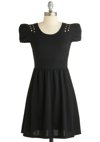Come a Long Broadway Dress - Mid-length, Jersey, Woven, Black, Solid, Exposed zipper, Studs, Party, Steampunk, A-line, Short Sleeves, Exclusives, Scoop, Better, Girls Night Out