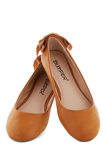 Ballet of the Land Flat in Caramel - Flat, Faux Leather, Tan, Solid, Good, Bows, Casual, Daytime Party, Fairytale, Variation