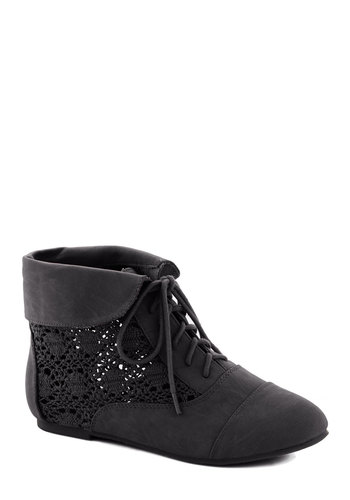 Seasons of Lovely Bootie in Black - Black, Solid, Crochet, Flat, Good, Lace Up, Faux Leather, Casual, Boho, Variation, Urban, Fall