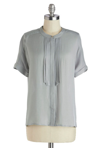 Jeweler Than Cool Top - Grey, Solid, Buttons, Work, Short Sleeves, Good, Long, Pleats, Woven, Crew, Grey, Short Sleeve