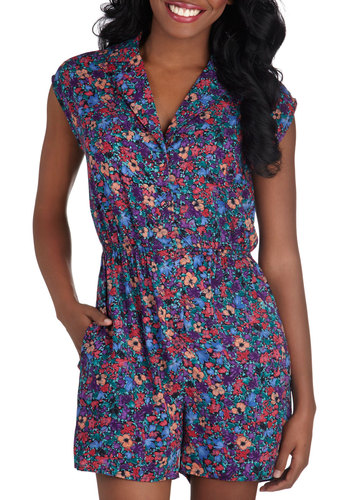 Read It and Steep Romper in Wildflower - Woven, Multi, Blue, Purple, Pink, Floral, Buttons, Pockets, Beach/Resort, International Designer, Casual, Cap Sleeves, Summer, Collared