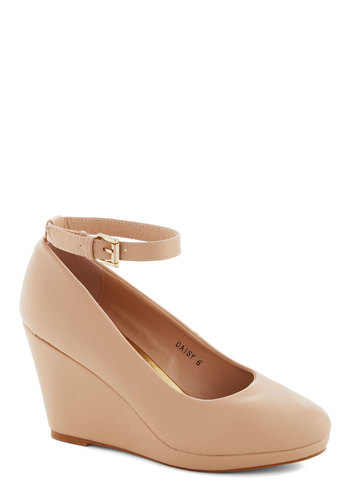Wedge You Rather Shoe in Beige - Tan, Solid, Wedding, Work, Daytime Party, Graduation, Bridesmaid, High, Platform, Wedge, Good, Party, Minimal, Faux Leather, Variation, Basic