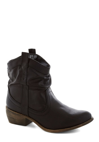Ooh La Lasso Boot in Black - Black, Solid, Chunky heel, Low, Faux Leather, Good, Rustic, Variation