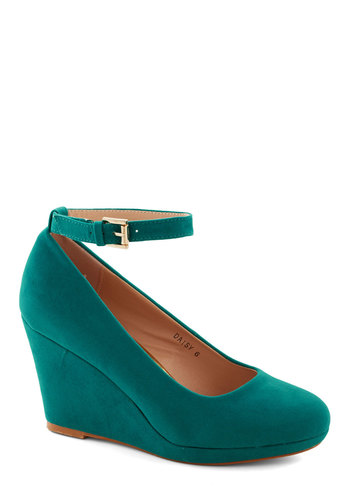 Wedge You Rather Shoe in Teal - Blue, Solid, Wedding, Daytime Party, Graduation, Bridesmaid, Platform, Wedge, Mid, Faux Leather, Good, Party, Girls Night Out, Minimal, Variation