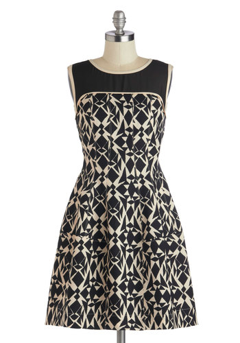 Designers' Day Out Dress - Black, Tan / Cream, Print, Trim, Party, A-line, Sleeveless, Better, Short, Woven