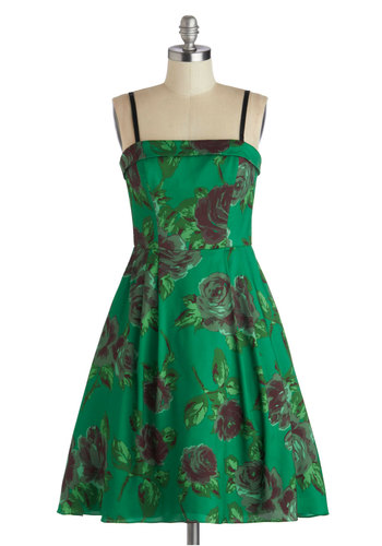Betsey Johnson Splendor in the Cast Dress by Betsey Johnson - Green, Floral, Fit & Flare, Strapless, Spaghetti Straps, Better, Prom, Party, Long, Satin, Woven, Purple, Holiday Party