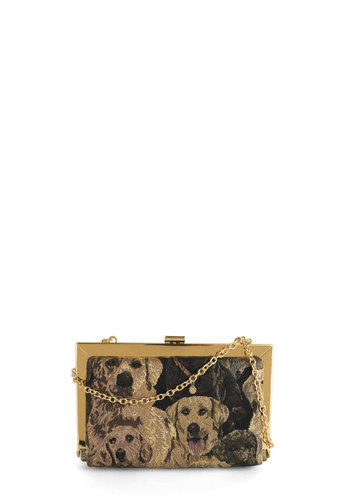 Best in Class Bag - Gold, Print with Animals, Trim, Good, Brown, Tan, Chain