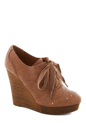 Gift of Thrift Wedge by Restricted - Tan, High, Platform, Wedge, Lace Up, Leather, Solid, Vintage Inspired, Scholastic/Collegiate, Fall