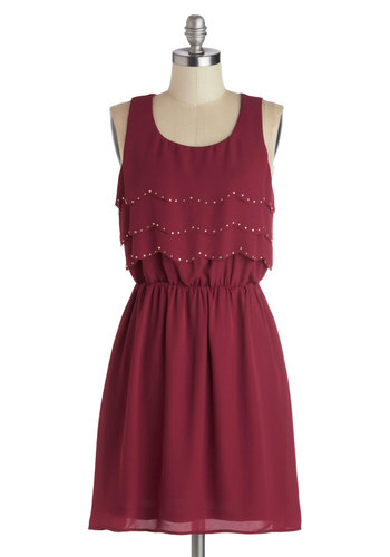 County Fair Flutters Dress - Red, Solid, Scallops, Studs, Tiered, Party, A-line, Tank top (2 thick straps), Good, Scoop, Mid-length, Chiffon, Woven, Purple, 20s