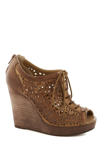 Marvelous Montage Wedge by Restricted - Tan, Cutout, Platform, Wedge, Lace Up, Peep Toe, Leather, High, Better, Solid, Party