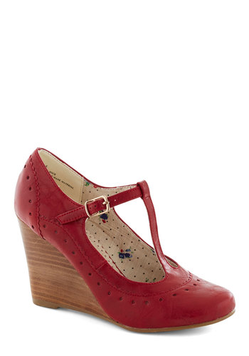 Pie Contest Wedge in Cherry by Restricted - Red, Solid, Work, Wedge, Mid, Faux Leather, Better, Vintage Inspired, 30s, 40s, T-Strap