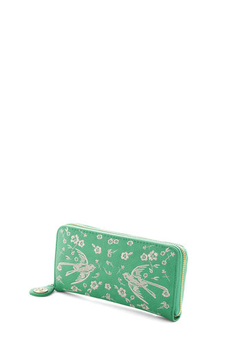 Flit and Flourish Wallet by Darling - White, Embroidery, International Designer, Faux Leather, Green, Print with Animals