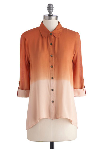 Amber Ramblin' Top - Mid-length, Woven, Orange, Tan / Cream, Ombre, Buttons, Casual, Button Down, 3/4 Sleeve, Fall, Collared, Work, Orange, Tab Sleeve