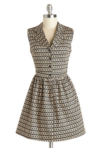 Taking on Tulsa Dress in Diamonds - Tan / Cream, Black, Print, Casual, A-line, Shirt Dress, Sleeveless, Good, Collared, Cotton, Woven, Buttons, Variation, Work, Short