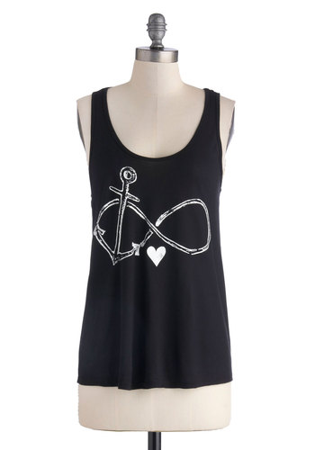 Falling Infinite Love Top - Black, Novelty Print, Tank top (2 thick straps), Good, Jersey, Knit, Mid-length, White, Casual, Nautical, Scoop, Black, Sleeveless, Festival