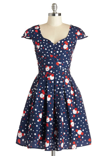 Nominee of the Night Dress in Bubbly by Myrtlewood - Long, Blue, Red, White, Polka Dots, Bows, Pleats, Party, Vintage Inspired, Fit & Flare, Cap Sleeves, Exclusives, Variation, Sweetheart, Better, Daytime Party, Woven, Private Label