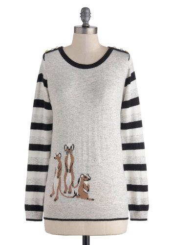 Pop In, Stand Out Sweater by Yumi - Grey, Brown, Black, White, Stripes, Buttons, Casual, Long Sleeve, Mid-length, Print with Animals, Rhinestones, Quirky, Knit, Scoop, Novelty Print, Grey, Long Sleeve