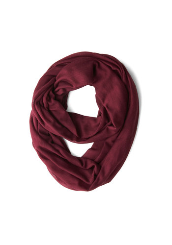Come Full Circle Scarf in Burgundy - Red, Solid, Minimal, Good, Variation, Cotton, Basic, Urban, Folk Art