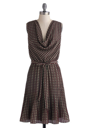 Either Orientation Dress by Yumi - Black, Multi, Floral, Belted, A-line, Sleeveless, Better, Cowl, Work, Long, Satin, Woven