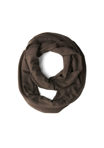 Come Full Circle Scarf in Cocoa - Grey, Solid, Minimal, Good, Variation, Basic, Cotton, Knit, Sheer, Urban