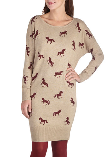 Mythical Tradition Dress by Yumi - Print with Animals, Knit, Mid-length, Tan, Red, Casual, Sweater Dress, Long Sleeve, Fall, Better, Novelty Print, Quirky, Scoop, Winter