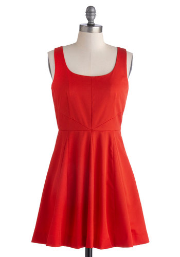 Fuego Where You Wanna Go Dress - Red, Solid, Crochet, A-line, Tank top (2 thick straps), Scoop, Short, Woven, Sheer, Good, Party, Cocktail, Valentine's