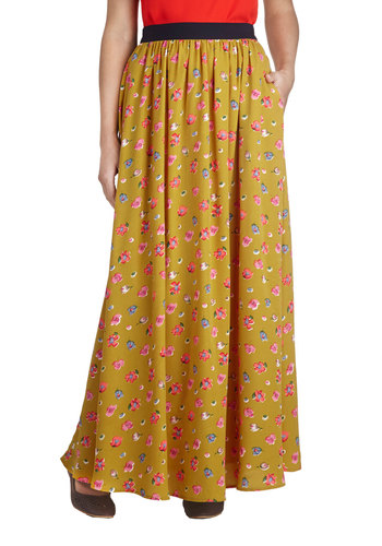 Tea Timing is Everything Skirt - Yellow, Floral, Casual, Boho, Maxi, Pockets, Woven, Spring, Yellow, Long