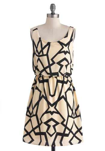 A Close Kaleidoscope Dress - Mid-length, Cream, Black, Print, Party, A-line, Scoop, Tank top (2 thick straps), Good, Exclusives, Urban, Statement