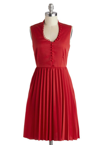 One-Woman Showstopper Dress - Mid-length, Red, Solid, Pleats, Party, A-line, Sleeveless, Scoop, Buttons, Daytime Party, Vintage Inspired, Exclusives, Private Label, Knit