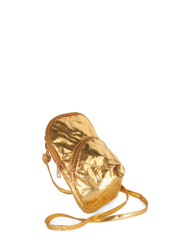 Will You Look at Hat! Bag - Gold, Solid, Glitter, Faux Leather, Quirky, Statement