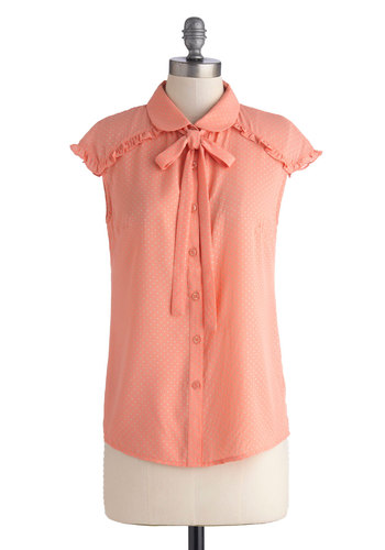 Strawberry Smoothie Top - Coral, Polka Dots, Buttons, Peter Pan Collar, Ruffles, Tie Neck, Work, Cap Sleeves, Collared, Mid-length, Chiffon, Sheer, Woven, Grey, Pastel, Button Down, Pink, Short Sleeve