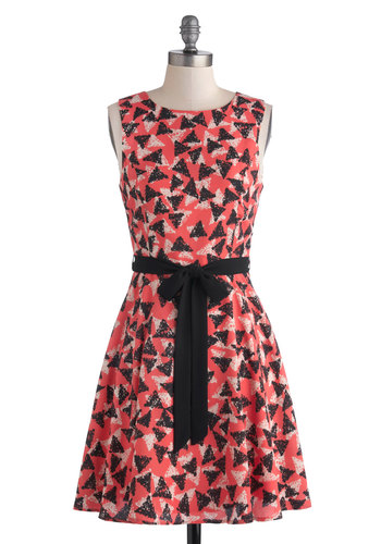 Stamp of Adorable Dress - Coral, Black, Print, Casual, A-line, Sleeveless, Crew, Mid-length, Good, Belted, White, Exposed zipper, Woven