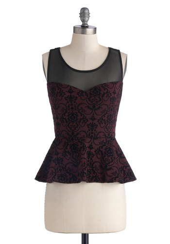 Compliments of the Chef Top - Red, Black, Bows, Cocktail, Peplum, Sleeveless, Short, Sheer, Woven, Print, Cutout, Party, Scoop, Holiday Party, Red, Sleeveless