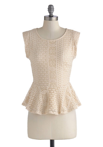 Graceful of Ideas Top - Cream, Solid, Work, Peplum, Sleeveless, Mid-length, Knit, Lace, Daytime Party, Scoop, White, Sleeveless, Spring, Summer, Lace
