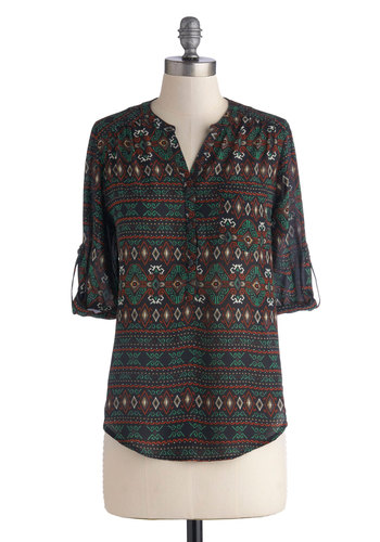 Breeze Your Way In Top - Mid-length, Chiffon, Sheer, Woven, Multi, Green, Blue, Tan / Cream, White, Print, Buttons, Good, Pockets, Casual, 3/4 Sleeve, Folk Art, Multi, Tab Sleeve, Novelty Print, Top Rated