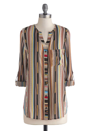 Intuitive Individual Top - Mid-length, Sheer, Woven, Multi, Yellow, Brown, Tan / Cream, Stripes, Buttons, Long Sleeve, Good, Pockets, Boho