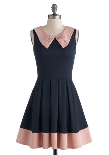 Prose and Contrast Dress in Navy - Blue, Pink, Pleats, A-line, Good, Mid-length, Jersey, Peter Pan Collar, Trim, Colorblocking, Sleeveless, Solid, Party, Daytime Party, Knit, Scoop, Top Rated